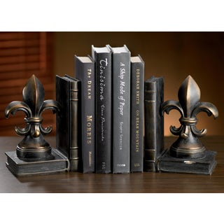 Aged Bronze Fleur de Lis Bookend Set