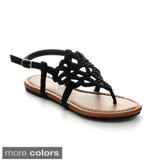 Top Moda Women's 'Alice-34' Studded Flat Sandals