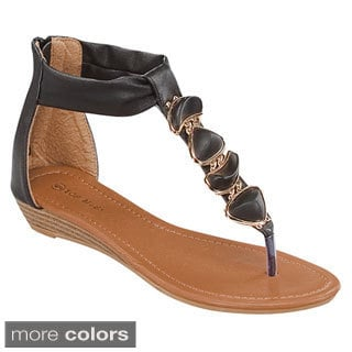 Top Moda Women's 'Brook-2' Stone-studded T-strap Flat Sandals