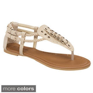 Top Moda Women's 'Guest-30' Ring Hardware Flat Sandals