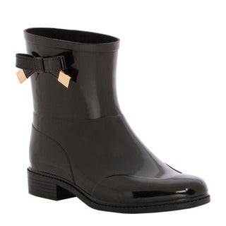 Burberry Women's Black Westcott Ankle Rubber Rainboots with Bow