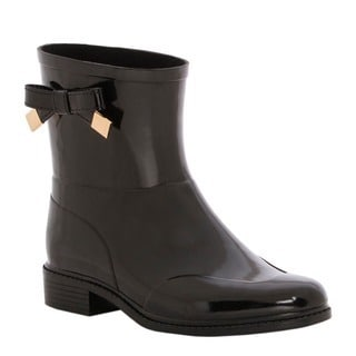 Burberry Women's Black Belted Rubber Rain Boots