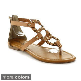 Nature Breeze Women's 'Florence-01' Studded T-strap Sandals