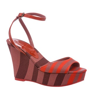 Burberry Women's Coral/ Purple Striped Canvas Platform Sandals