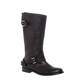 Burberry Women's 'Harpley' Black Leather Soft Aviator Flat Mid-calf Boots