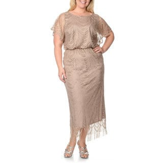 S.L. Fashions Women's Plus Size Gold Crochet Overlay Blouson Gown