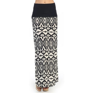 Hadari Women's Black and White Tribal Print Maxi Skirt
