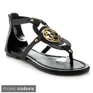 Nature Breeze Women's 'Florence-04' Medallion Hardware Flat Sandals
