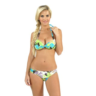 Sunset Swim Power Pad Halter with Side Shirred Pant in Dahlia