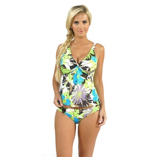 Sunset Swim Twist Tankini with Side Shirred Pant in Dahlia