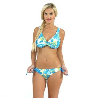 Sunset Swim Twist Top with Adjusted Tie Side Bottoms in Jungle Love