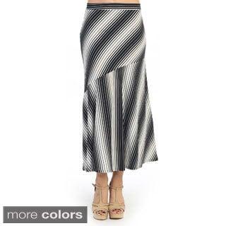 Hadari Women's Contemporary Multi-striped Midi Skirt