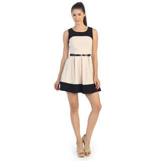 Hadari Women's Cream and Black Colorblocked A-line Dress