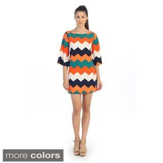 Hadari Women's Chevron Print Bell Sleeve Dress