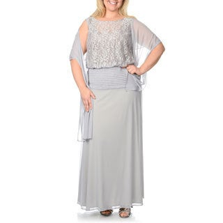 Ignite Evenings Women's Plus Size Dove White Blouson Gown with Scarf
