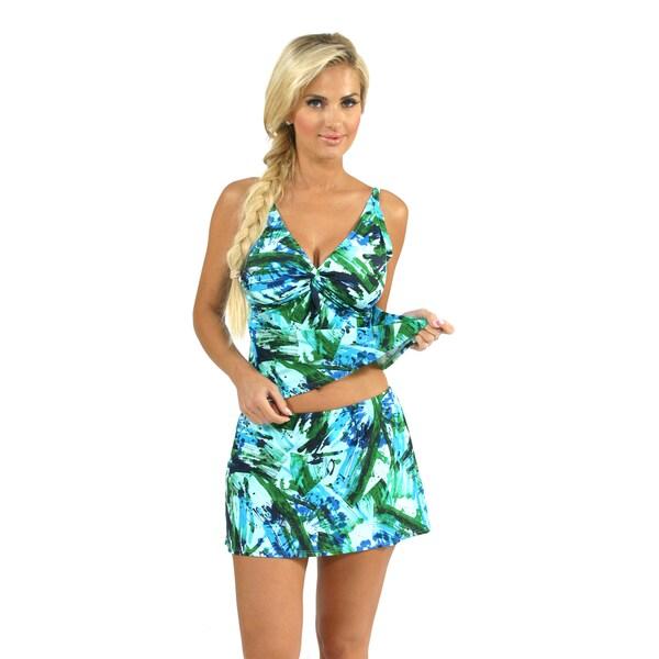 Sunset Swim Twist Tankini with Swim Skirt in Brush Strokes