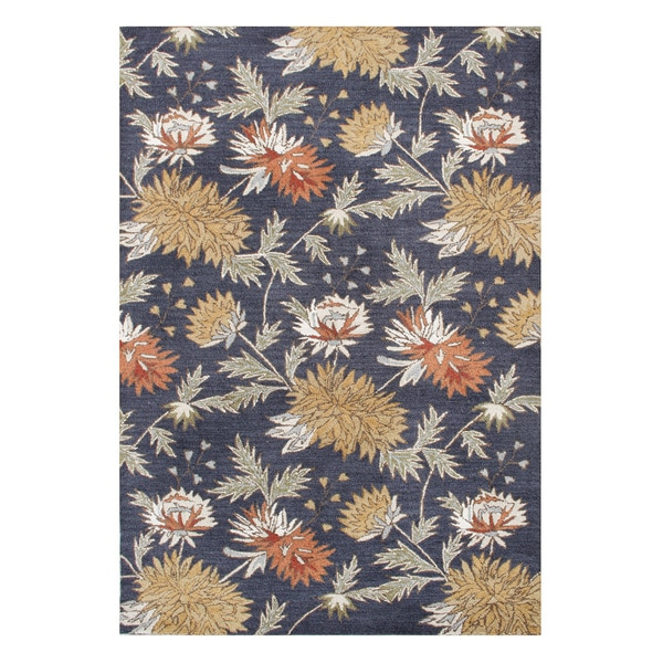 Hand-made Dark Gull Grey Floral New Zealand Blended Wool Rug (8' x 10')