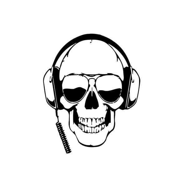 SKull with Headphones Music Vinyl Wall Art