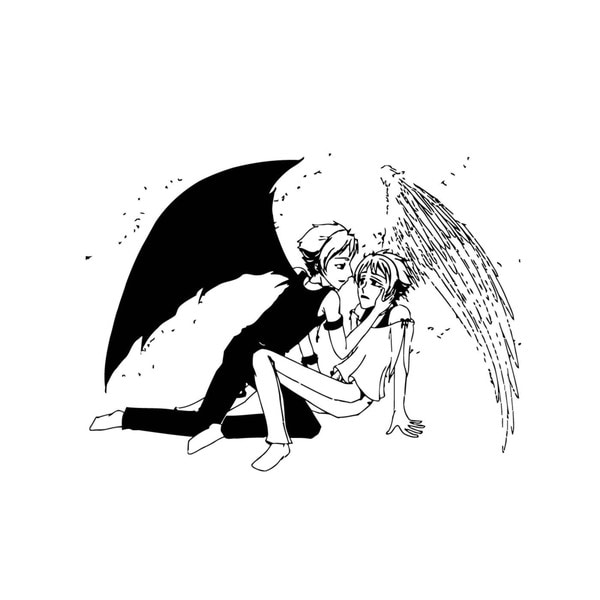 Black and White Angels Mural Vinyl Wall Art