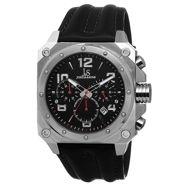 Joshua & Sons Men's Chronograph Sport Genuine Leather Strap Watch