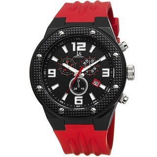 Joshua & Sons Bold Men's Chronograph Date Red Strap Watch