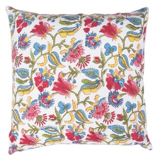 Indian White Multi-colored Hand Block Print Fabric Throw Pillow