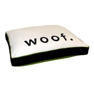 White/Black Woof Print Pet Bed