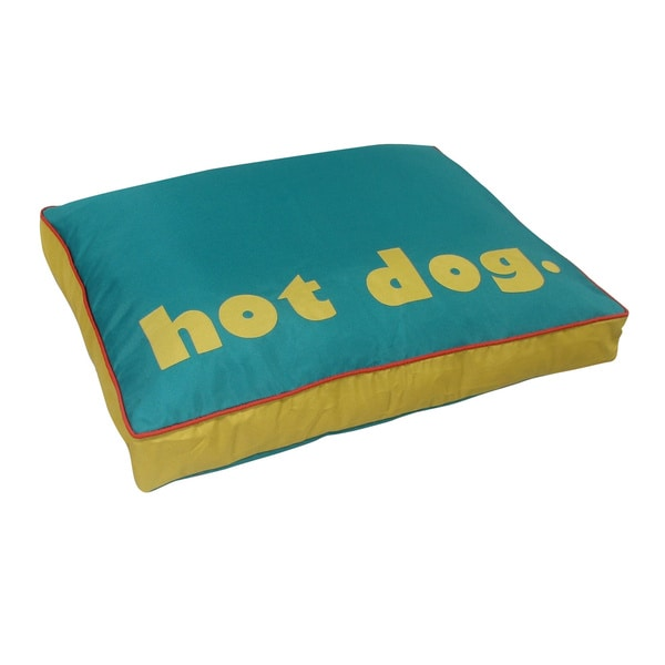 Teal/Yellow Hot Dog Print Pet Bed