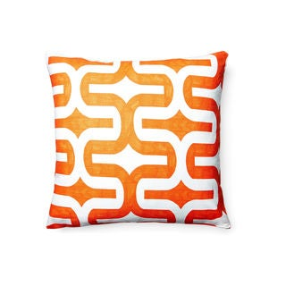 18 x 18-inch Tangelo Orange Geometric Diva Embrace Square Throw Pillow