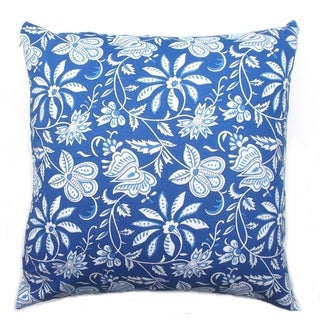Indian Blue Hand Block Print Fabric Square Cotton Throw Pillow