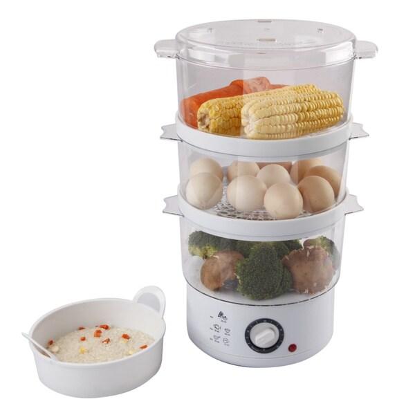 Ovente FS53W White 3-layer Electric Food Steamer