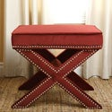 Monica Pedersen 'Evelyn' Burgundy Ottoman Stool by Abbyson Living