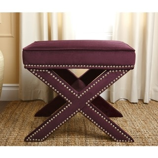 Monica Pedersen 'Evelyn' Purple Ottoman Stool by Abbyson Living