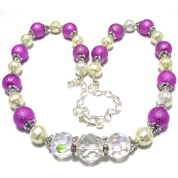 Textured Violet and Pearlized Ivory Crystal 4-piece Wedding Jewelry Set