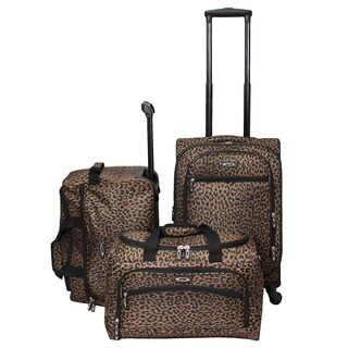 Weekender Cheetah 3-piece Lightweight Carry On Spinner Luggage Set