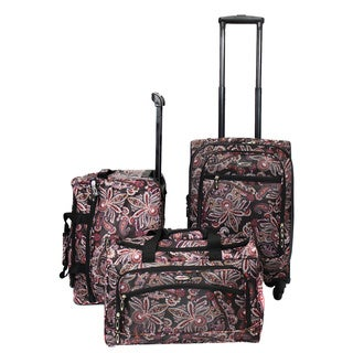 Weekender Floral Damask 3-piece Lightweight Carry On Spinner Luggage Set