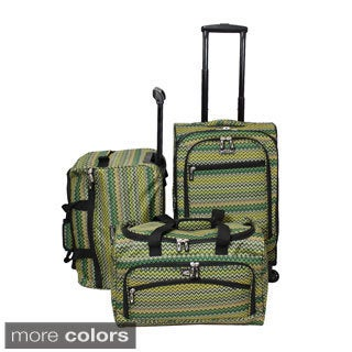 Weekender Chevron 3-piece Lightweight Carry On Spinner Luggage Set