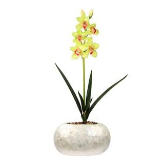 Cymbidium Pearl Potted Silk Orchid Arrangement