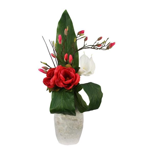 Elegance Burgundy Silk Magnolia Floral Arrangement