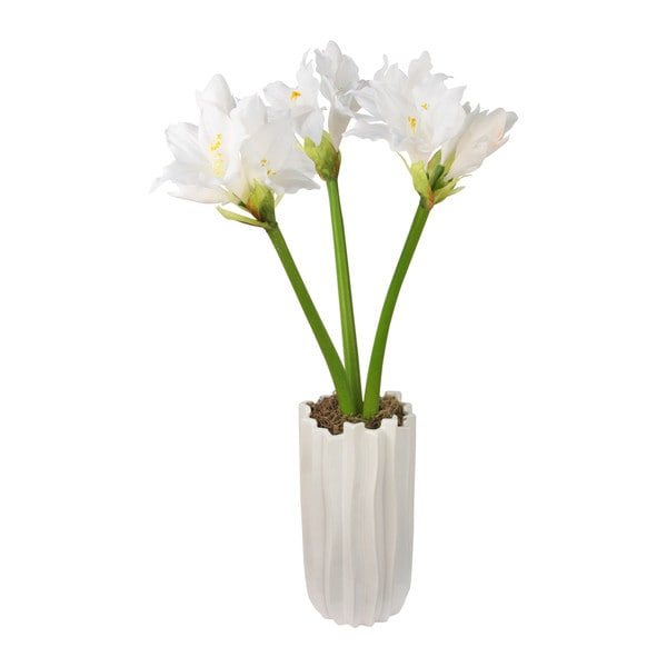 White Amaryllis Potted Silk Floral Arrangement