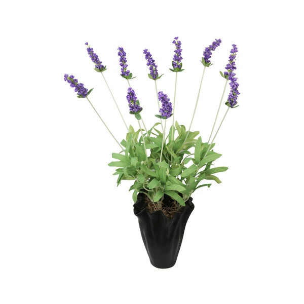 Lavender Silk Floral Arrangement and Black Vase