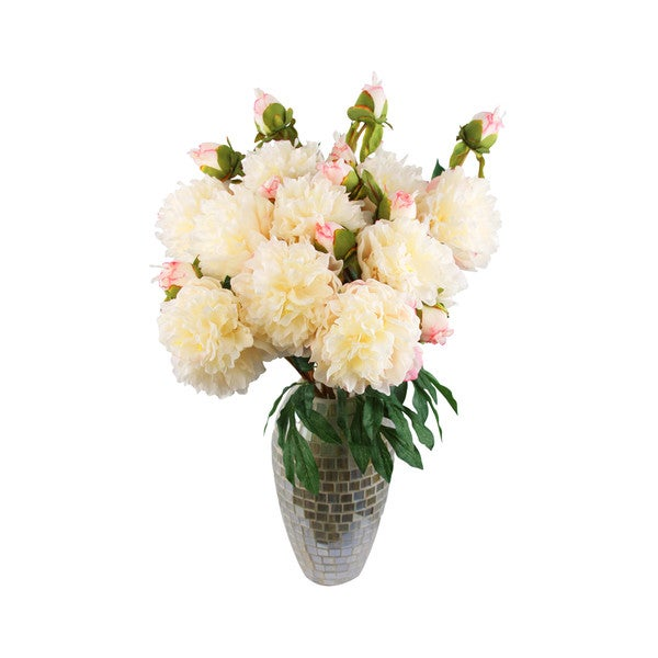 Verona Silk Floral Arrangement with Cream White Peony's in a Mosaic Vase