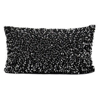 "Michael Amini by Nourison Black Sequined 12"" x 20"" Throw Pillow"