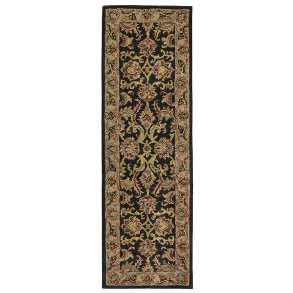 Nourison Hand-tufted India House Black Wool Runner Rug (6' x 6')