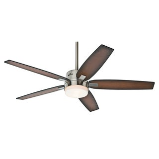 Windmere 54-inch Brushed Nickel Ceiling Fan with Five Burnished Walnut/ Burnished Mahogany Veneer Blades