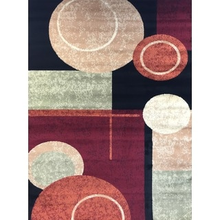 "Geometric Circle Burgundy Area Rug (5'3"" x 7'3"")"