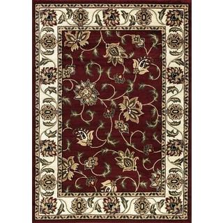 "Sarouk Floral Burgundy Area Rug (5'3"" x 7'3"")"