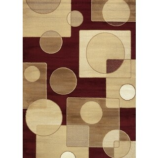 Geometric Circle Red Area Rug (7'10 x 10'2)