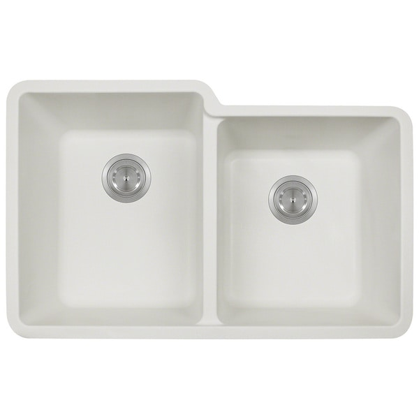 White Double Kitchen Sink : Polaris Sinks P108 White Double Offset Bowl Kitchen Sink - 16214911 ...