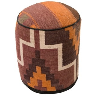 Round 17-inch Contemporary Kilim Tribal Ottoman